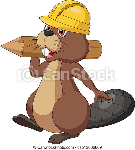 castor, sécurité, porter, mignon, dessin animé - csp13606669