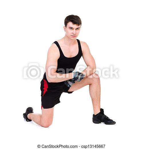 caucasien, séance entraînement, s'exercer homme, fitness - csp13145667