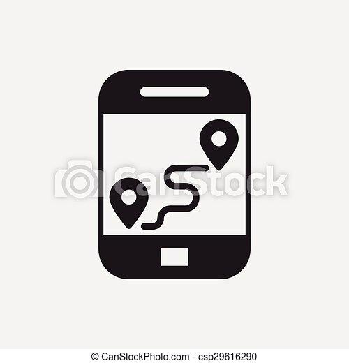 cellphone, carte, icône - csp29616290