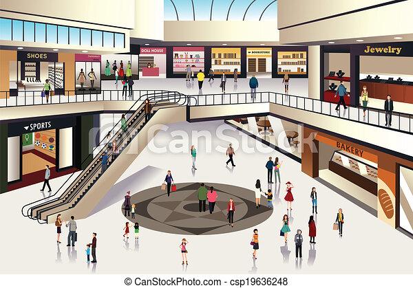 centre commercial, achats - csp19636248