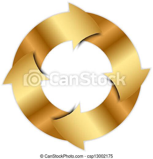 cercle, vecteur, flèches, or - csp13002175