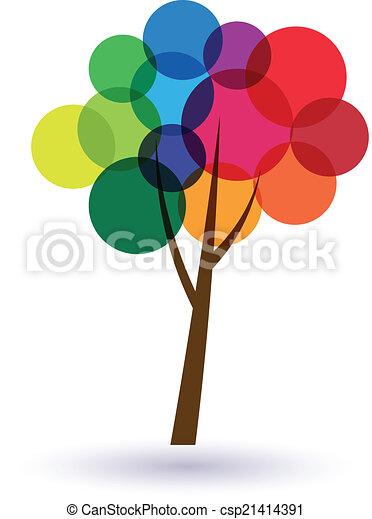 cercles, arbre, multicolore, image., bonheur, life., icône, vecteur, bon, concept - csp21414391