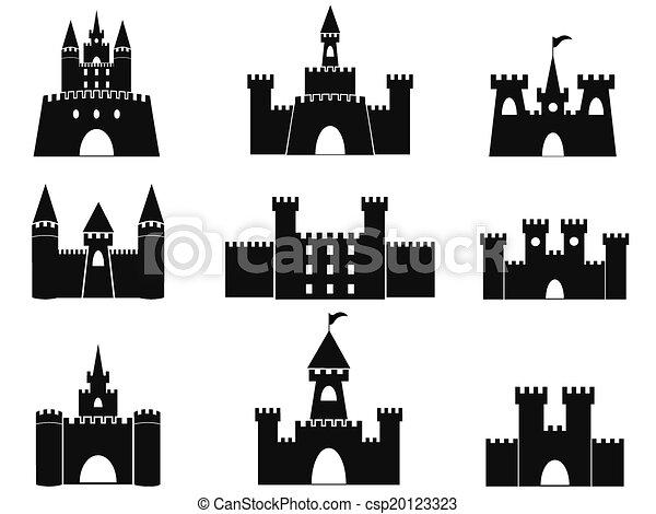château, noir, icônes - csp20123323