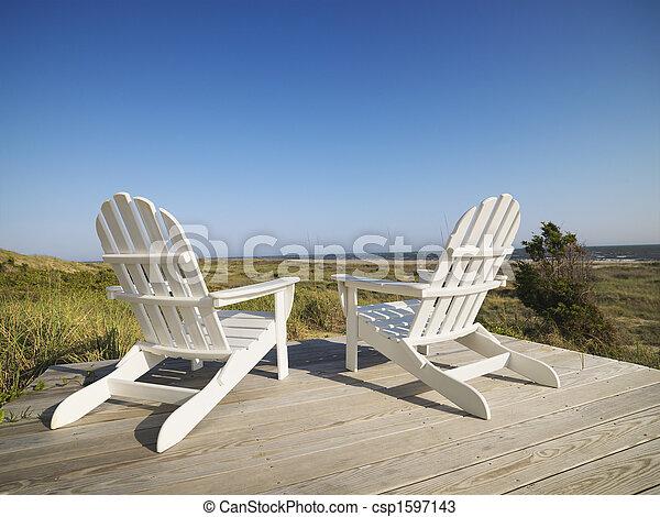 chaises, plage., pont - csp1597143