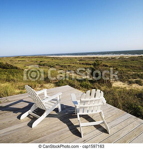 chaises, pont, plage. - csp1597163
