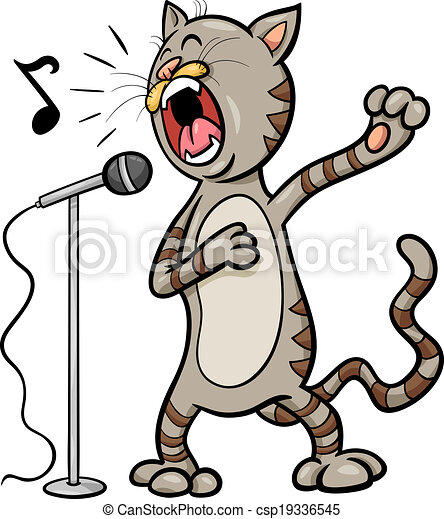 chant, dessin animé, illustration, chat - csp19336545
