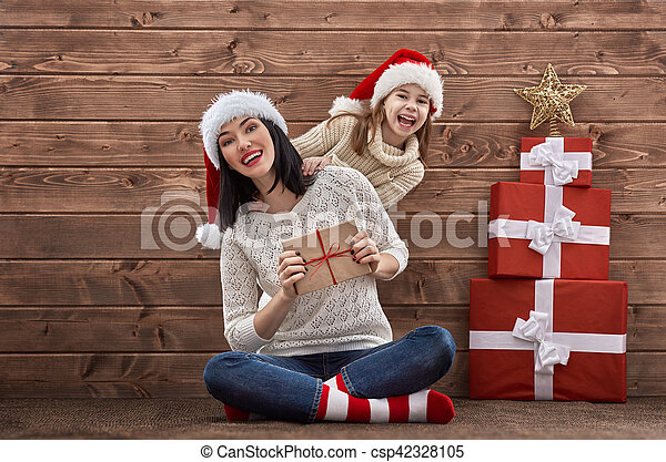 chapeaux, famille, santa - csp42328105