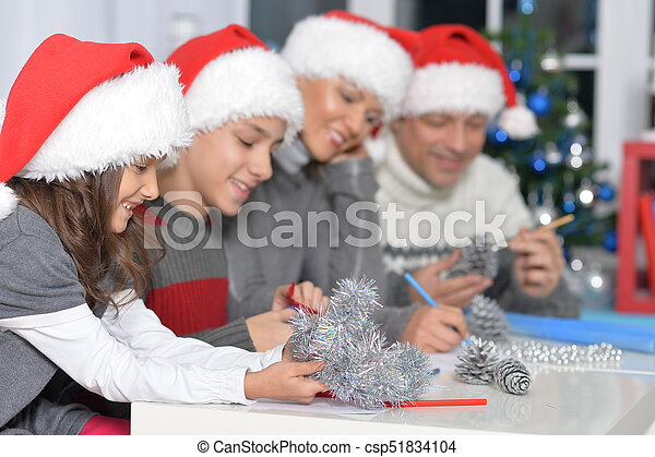 chapeaux, famille, santa - csp51834104