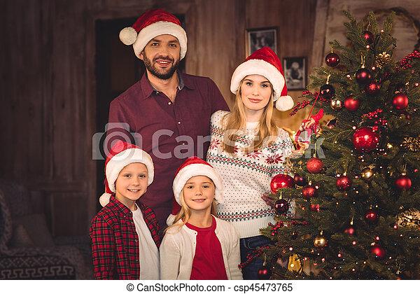 chapeaux, famille, santa, heureux - csp45473765