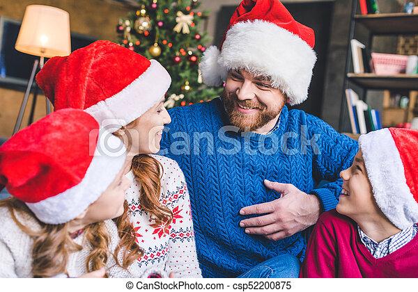chapeaux, famille, santa - csp52200875