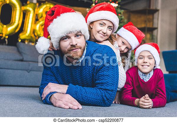 chapeaux, famille, santa - csp52200877