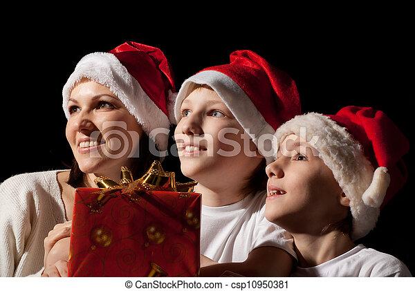chapeaux, famille, santa - csp10950381