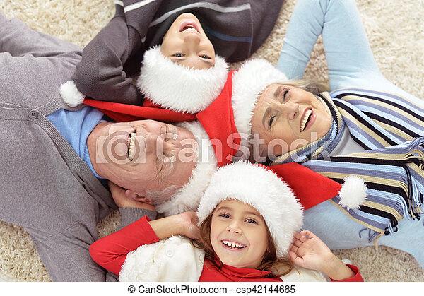 chapeaux, famille, santa - csp42144685