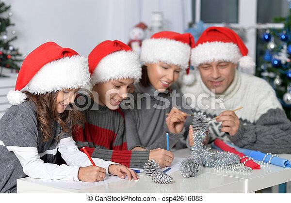 chapeaux, famille, santa - csp42616083