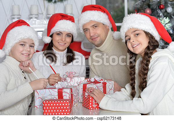 chapeaux, famille, santa - csp52173148