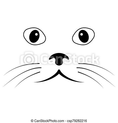 chat, figure, yeux, simple, croquis, moustache, vecteur, figure, nez - csp79282216
