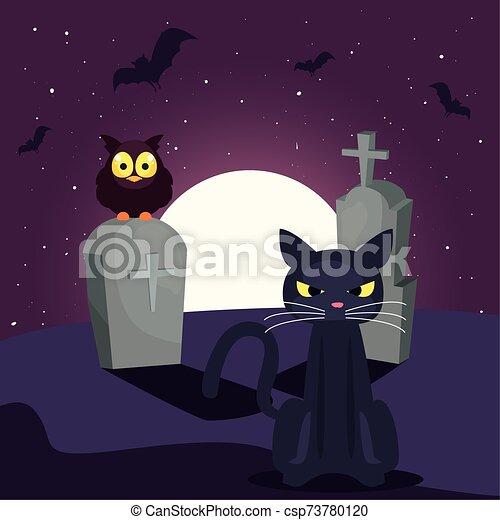 chat, lune, scène, noir, cimetière - csp73780120