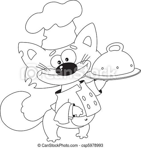 chat, plateau, cuisinier, esquissé - csp5978993