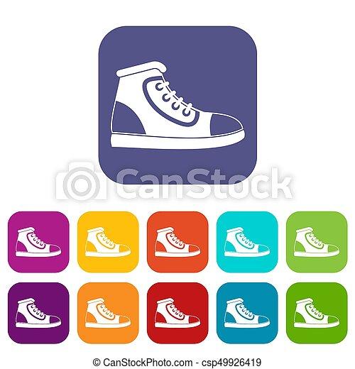 chaussure, athlétique, icônes, ensemble - csp49926419