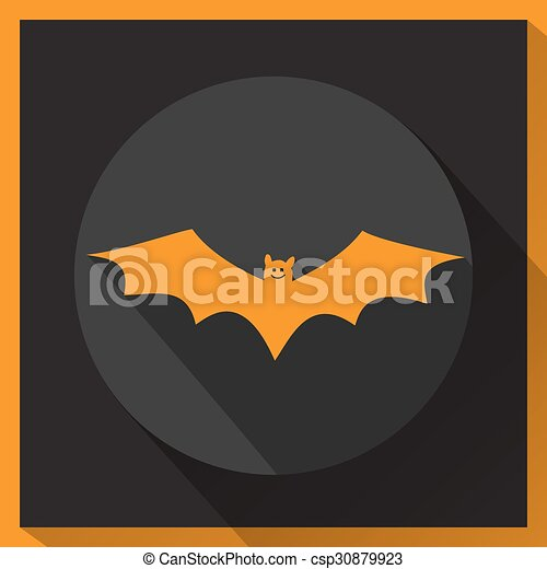 chauve-souris, shadow., long, icône - csp30879923