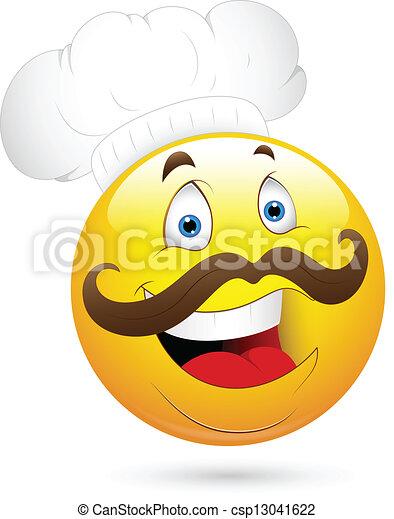 chef cuistot, heureux, visage smiley - csp13041622