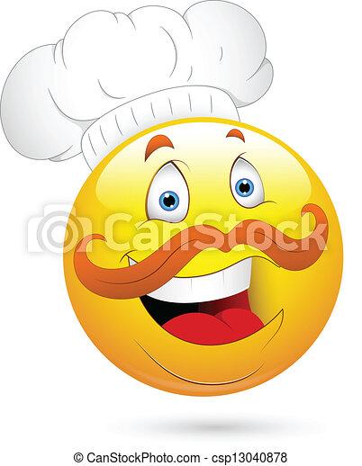chef cuistot, heureux, visage smiley - csp13040878