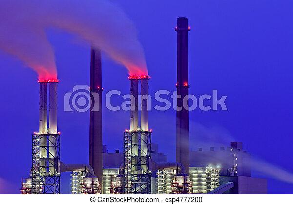 cheminées, plante, puissance, nuit - csp4777200