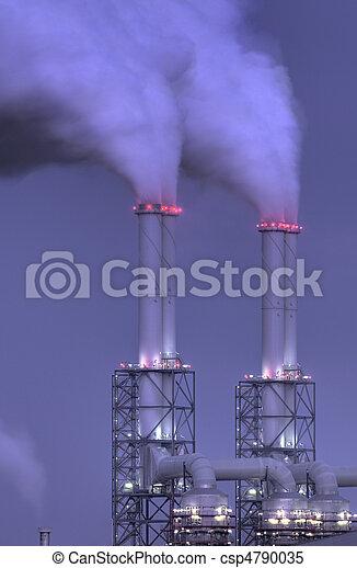 cheminées, plante, puissance, nuit - csp4790035