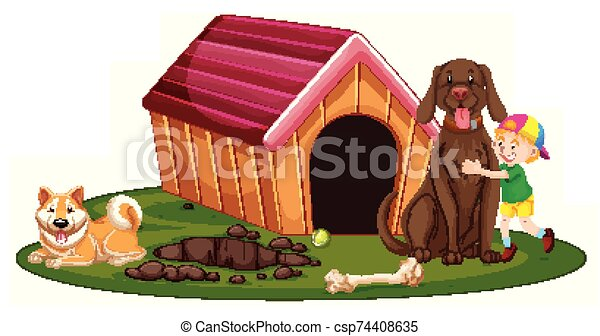 chenil, garçon, chiens, deux - csp74408635