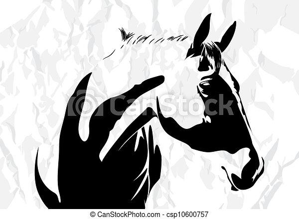 cheval, vecteur - csp10600757