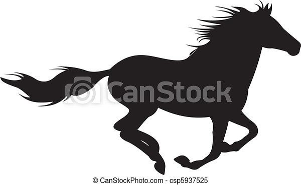 cheval, vecteur, silhouette - csp5937525