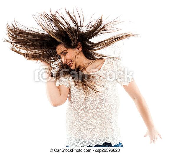 cheveux, femme, renverser, elle - csp26596620