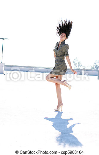 cheveux, girl, lancer, elle - csp5908164