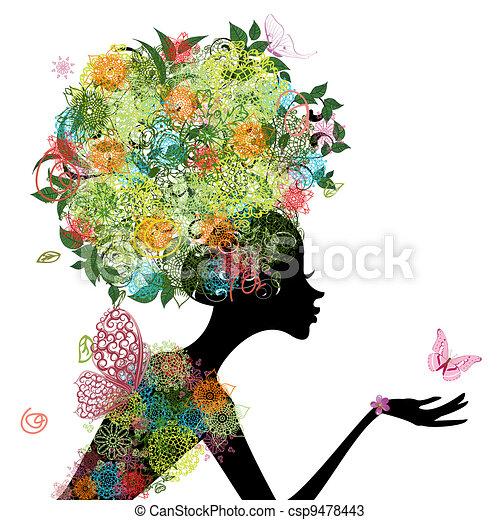 cheveux, girl, mode, arabesque - csp9478443