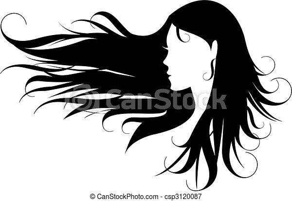 cheveux, noir - csp3120087