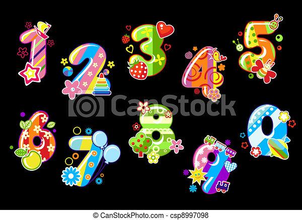 chiffres, enfants, coloré, nombres - csp8997098