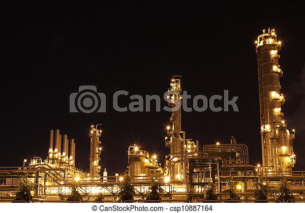 chimique, industriel, scène, nuit - csp10887164