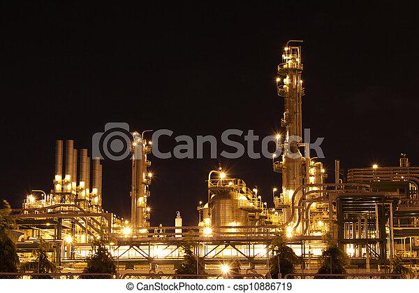 chimique, industriel, scène, nuit - csp10886719