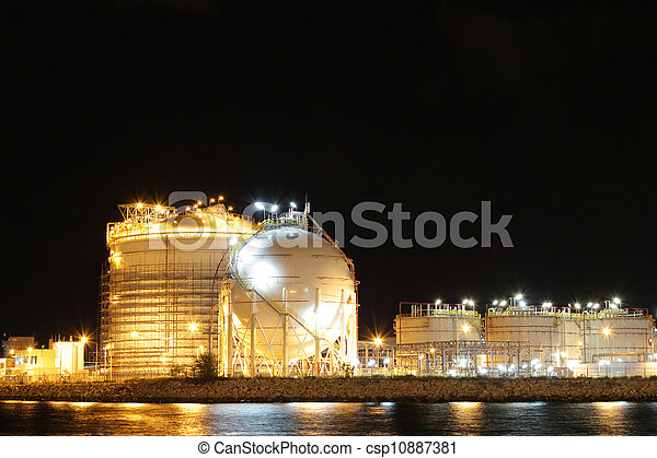 chimique, industriel, scène, nuit - csp10887381