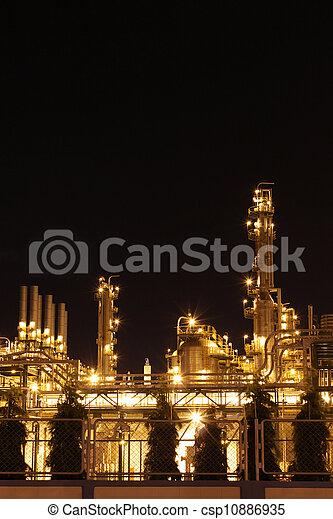 chimique, industriel, scène, nuit - csp10886935