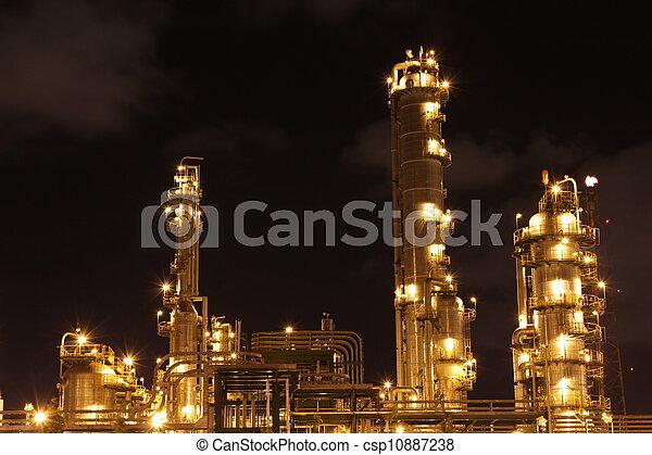 chimique, industriel, scène, nuit - csp10887238