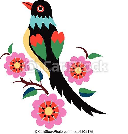 chinois, oiseau, oriental, arbre - csp6102175