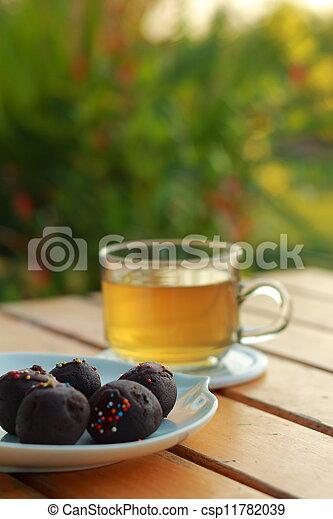 chocolat, balles, thé, chaud - csp11782039