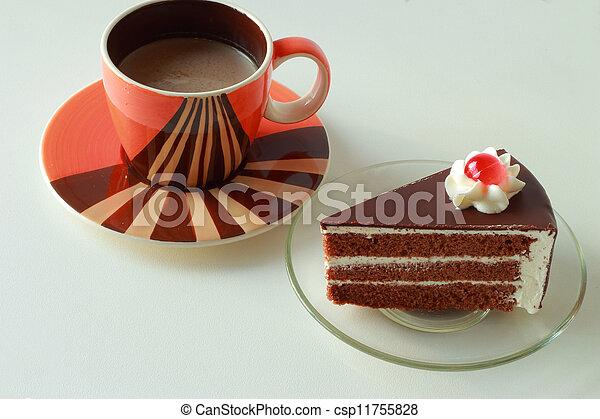 chocolat, gâteau café, chaud - csp11755828