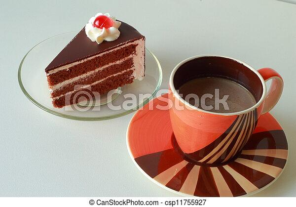 chocolat, gâteau café, chaud - csp11755927