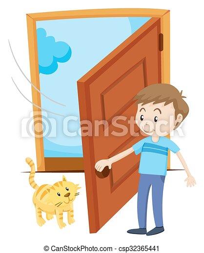 chouchou, ouvert, homme, porte, chat - csp32365441