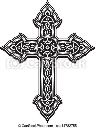 chrétien, croix, orné - csp14782755
