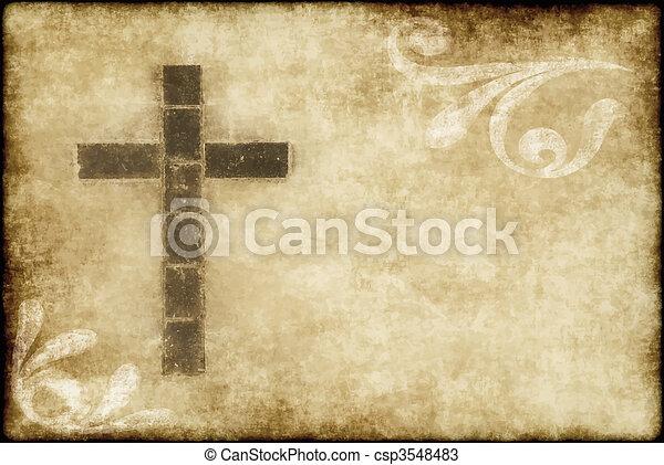 chrétien, croix, parchemin - csp3548483