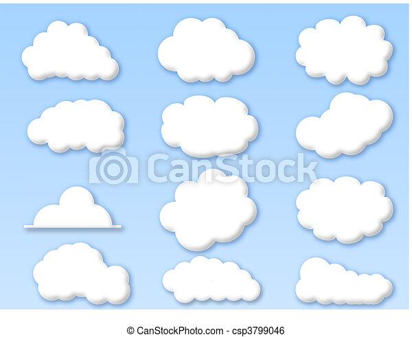 ciel bleu, nuages, nuageux - csp3799046