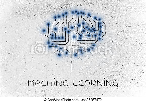 circuit, sous-titre, mené, cerveau, puce, machine, apprentissage, lumières - csp36257472